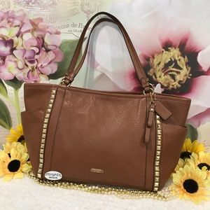 COACH Carrie Pyramid Leather Tote 32897 Brown